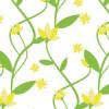 春っぽい黄色い花と葉のシームレスパターン