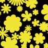 黒と黄色の影絵のような花柄のシームレスパターン