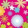 発色の強いピンクの背景に花が散りばめられたシームレスパターン