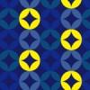 紺の中に黄色の交じる七宝文のアレンジパターン