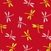 赤ベースのとんぼが飛び交う和柄パターン