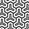 六角形を3つ並べた白黒の毘沙門亀甲のパターン