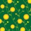 オレンジの花がひときわ目立つ草花のシームレスパターン