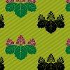 緑の斜線に桐家紋を並べた和柄パターン