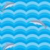 海を泳ぐイルカのイラストを使ったパターン
