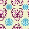 紫色と水色と薄い黄色のダマスク柄パターン