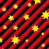 赤と黒の斜線に黄色の星が散らばるパターン