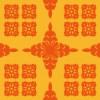 オレンジベースのハワイアンキルト柄パターン