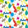 白い背景に複数の色のペンキが散らばるパターン