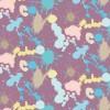 紫ベースにパステルカラーのインクが散らばるパターン