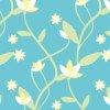 水色の爽やかな色合いの草花のパターン