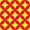 赤と黄色の七宝柄パターン