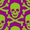 紫と緑の不気味なドクロマークイラストパターン