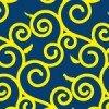 紺と黄色のポップな唐草和柄パターン