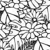 白黒の草花イラストパターン