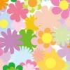 淡い色調の花のイラストが並ぶ背景パターン