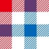 赤・白・青のガンクラブチェックパターン