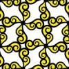 黒と黄色の渦のイラストパターン