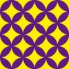 黄色と紫の七宝柄パターン