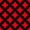 赤と黒の七宝柄パターン