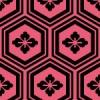 黒とピンク色の亀甲柄パターン