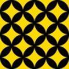 黒と黄色の七宝柄パターン