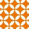 オレンジ色の七宝柄パターン