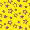 黄色背景に紫色の様々な大きさの星が散らばるパターン
