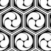 白黒の亀甲三つ巴のパターン