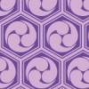 紫色の亀甲三つ巴のパターン