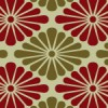 渋い赤と緑の菊菱柄パターン