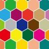 カラフルな六角形が並ぶ亀甲柄パターン