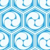 水色の亀甲三つ巴のパターン