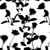 白黒の植物をモチーフにしたボタニカル柄パターン