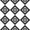 白黒のアジアン調の模様が入ったハーリキンチェックパターン