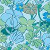 ブルーカラーのラフタッチな花のイラストパターン