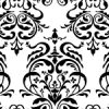 白黒のダマスク柄パターン