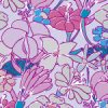 パープルカラーのラフタッチな花のイラストパターン