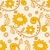オレンジ色の植物イラストパターン