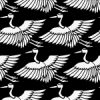 白黒の鶴のイラスト和柄パターン