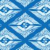 青色の菱形鶴の和柄パターン