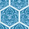 六角形に収まる青いダマスク柄パターン