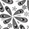 白黒のポップなペイズリー柄パターン