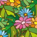 南国植物イラストのポップなパターン