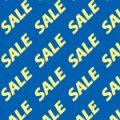 青い背景に黄色のSALEの文字が並ぶパターン