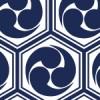 六角形に収まる亀甲三つ巴のパターン