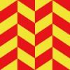 赤と黄色の菱形が組み合う活気あるパターン