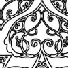 スペードの形を模したアラベスク柄パターン