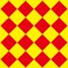 赤と黄色のハーリキンチェック柄パターン