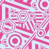 キュートな配色で様々な図形が並ぶポップパターン